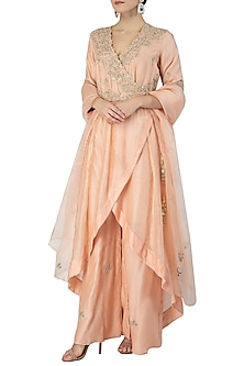Tea Rose Embroidered Angrakha Kurta Set by Varsha Wadhwa