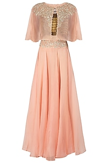 Tea Rose Embroidered Cape with Crop Top and Skirt