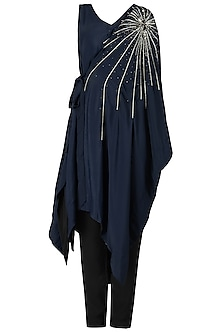 Midnight Blue Embroidered Kaftan Tunic