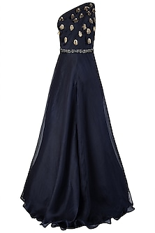 Midnight Blue One Shoulder Embellished Gown with Belt