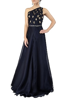 Midnight Blue One Shoulder Embellished Gown with Belt by Varsha Wadhwa