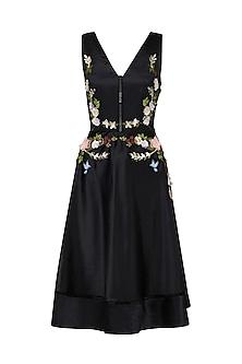 Black Flower Embroidered Midi Dress by Varsha Wadhwa