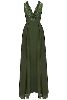 Bottle Green Embroidered Mermaid Gown by Varsha Wadhwa