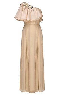 Nude Bugs Embroidered Cape Gown
