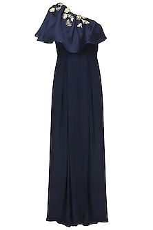 Midnight Blue Bugs Embroidered Cape Gown