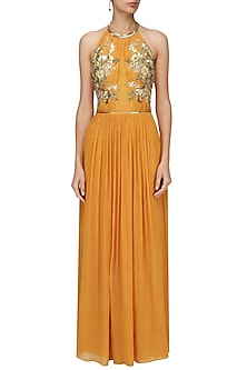 Tan Embroidered Halter Neck Gown by Varsha Wadhwa