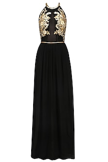 Black Embroidered Halter Neck Gown by Varsha Wadhwa