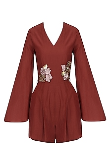 Maroon Embroidered Pleated Romper