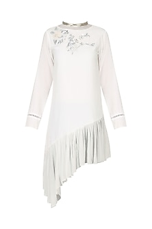 White Asymmetric Embroidered Tunic