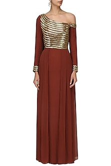 Maroon Embellished One Shoulder Mermaid Gown by Varsha Wadhwa