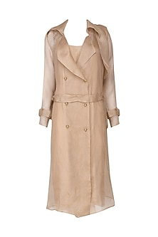 Nude Organza Trench Coat with Nude Slip Dress