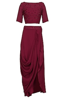Maroon Pearl Embroidered Crop Top and Drape Skirt Set