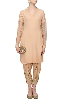 Nude Pearl Embellished Short Kurta and Tulip Pants Set by Varsha Wadhwa