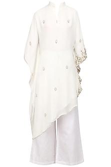 Off White Pearl Embroidered Kaftan and Pants Set by Varsha Wadhwa