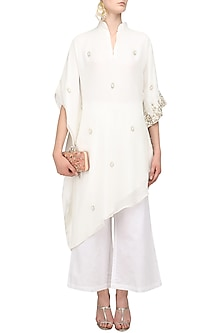 Off White Pearl Embroidered Kaftan and Pants Set by Varsha Wadhwa