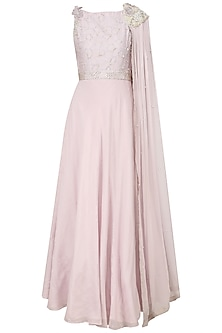 Silver Mauve Pearl and 3D Flowers Embroidered Cape Gown