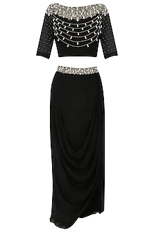Black Pearl Embroidered Crop Top and Drape Skirt Set