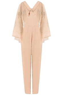 Tea Rose Jumpsuit with Embroidered Cape