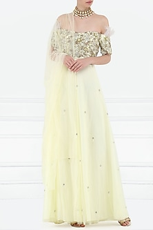 Custard Yellow Embroidered Off Shoulder Anarkali Set by Varsha Wadhwa