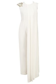 Off White Pearl Embellished Cape Jumpsuit