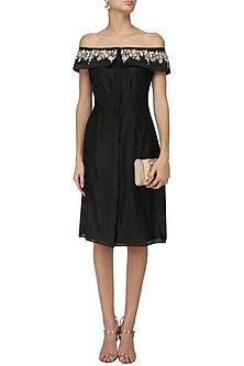 Black Pearls and Bullion Embroidered Dress by Varsha Wadhwa