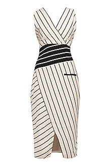 Off White Striped Fitted Dress by Varsha Wadhwa