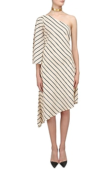 Off White Striped One Shoulder Asymmetric Dress by Varsha Wadhwa