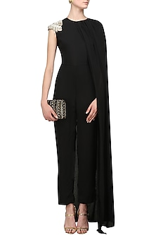 Black Pearl Embellished Cape Jumpsuit by Varsha Wadhwa