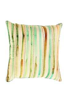 Aqua Striped Green Embroidered Pure Cotton Cushion Cover (Set of 2) by vVyom