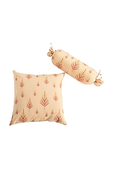 Orange Leaf Print Pure Cotton Cushion Cover (Set of 2) by vVyom