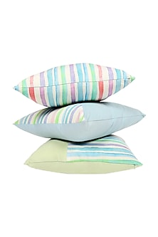 Powder Blue Striped Cushion Cover (Set of 3) by vVyom
