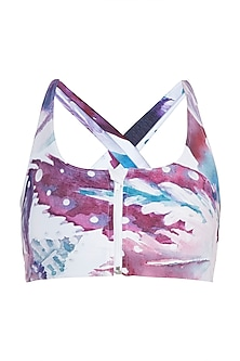 White printed zipper sports bra