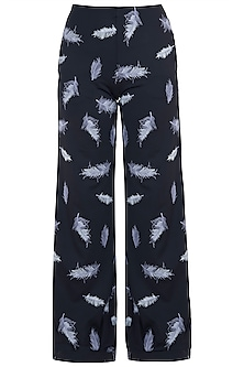 Black embroidered wide leg trousers