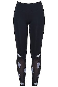 Black embroidered mesh leggings