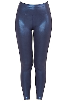 Blue metallic leggings by Mira rae