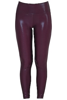 Wine metallic leggings