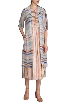 Greyish White Printed Straight Cut Dress With Attached Jacket by Whimsical By Shica
