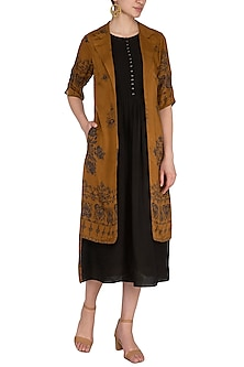 Brown Printed Midi Dress With Attached Jacket by Whimsical By Shica