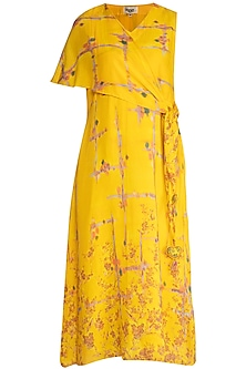 Mustard Printed Midi Dress With Scarf Tie-Up by Whimsical By Shica