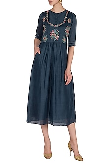 Navy Blue Hand Embroidered Dress  by Whimsical By Shica