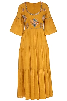 Mustard Hand Embroidered Tiered Dress  by Whimsical By Shica