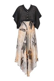 Peach and Black Botanical Hand Printed Dress