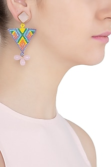 Pink Chalcedony and Multi-Coloured Japanese Beads Earrings