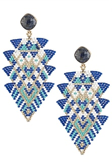 Blue Lapiz Lazuili and Japanese Beads Earrings by Palette