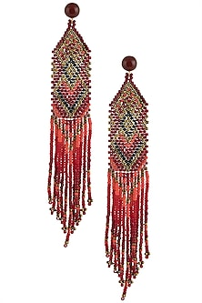 Carnelian and Multi-Coloured Japanese Seed Beads Earrings by Palette