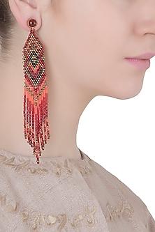 Carnelian and Multi-Coloured Japanese Seed Beads Earrings