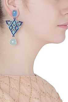 Aqua and Royal Blue Chalcedony and Japanese Beads Earrings by Palette
