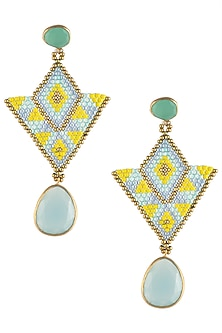 Aqua and Light Blue Chalcedony and Japanese Beads Earrings by Palette