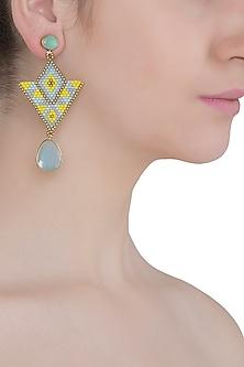 Aqua and Light Blue Chalcedony and Japanese Beads Earrings