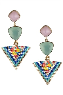 Pink and Aqua Blue Chalcedony and Japanese Beads Earrings by Palette